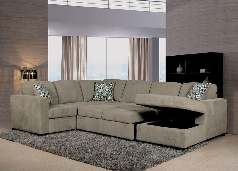 Izzy 3 Piece Chenille Right Facing Sleeper Sectional Platinum Sectional Pull Out Bed Storage Chaise
