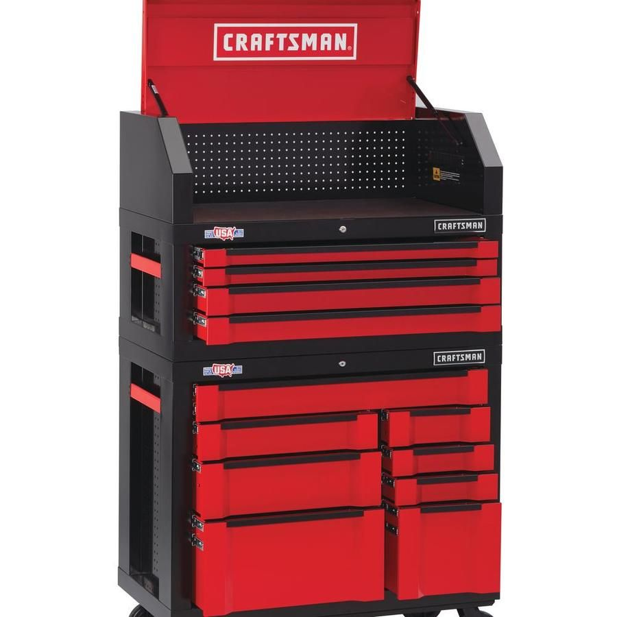 Craftsman 3000 Series 41 In W X 37 In H 8 Drawer Steel Rolling Tool Cabinet Red Lowes Com Craftsman Tool Cabinet Soft Close Drawer Slides