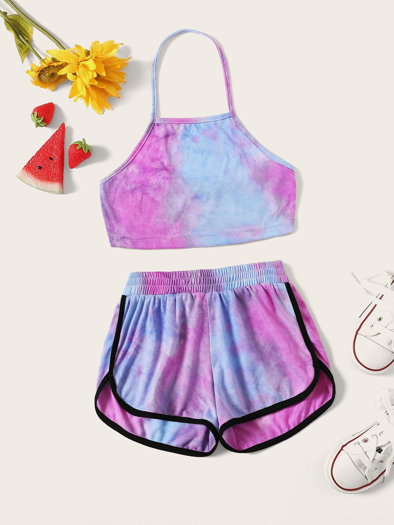 Girls Tie Dye Halter Crop Top Dolphin Shorts Set Check Out This