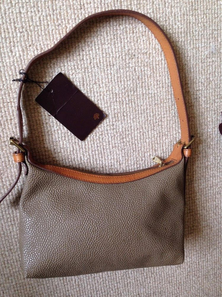 69c3bd7246 Mulberry Pimlico Bag in Taupe Scotchgrain with Leather Strap and Trim. A  modern about-