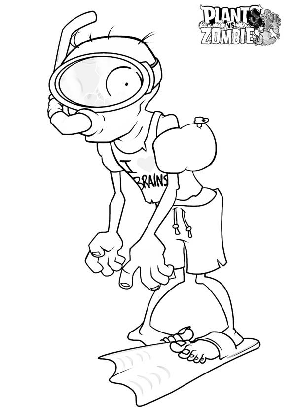 Diver Zombie In Plant Vs Zombie Coloring Page Coloring Sky Super Mario Coloring Pages Plants Vs Zombies Coloring Pages