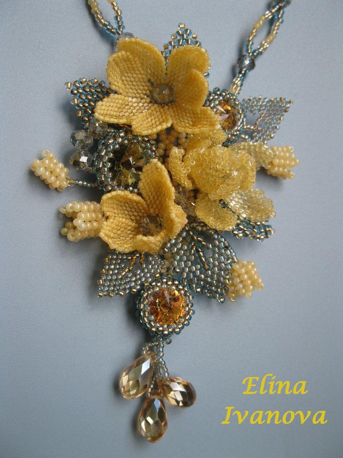 Beaded pendant dark autumn flower and leaves by Elinawonderland