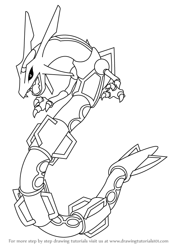 How To Draw Rayquaza From Pokemon Drawingtutorials101 Com Hi In