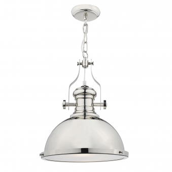Dar Lighting Arona Vintage Style Pendant In Polished Chrome With Images Glass Pendant Light Industrial Pendant Lights