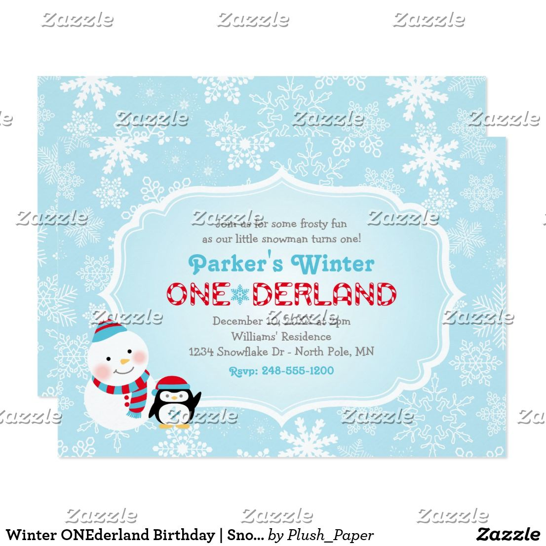 Winter ONEderland Birthday | Snowman and Penguin Card | Winter ...