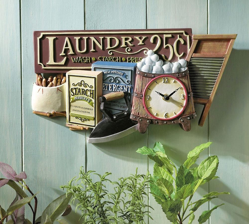 Old Fashioned Laundry Pictures Rustic Laundry Room Decor  Nostalgic Laundry Clock Old Fashioned