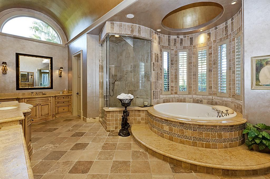Huge master bath has incredible architectural details