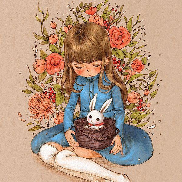 소녀와 토끼바구니 (A girl and a rabbit basket) A white rabbit in a