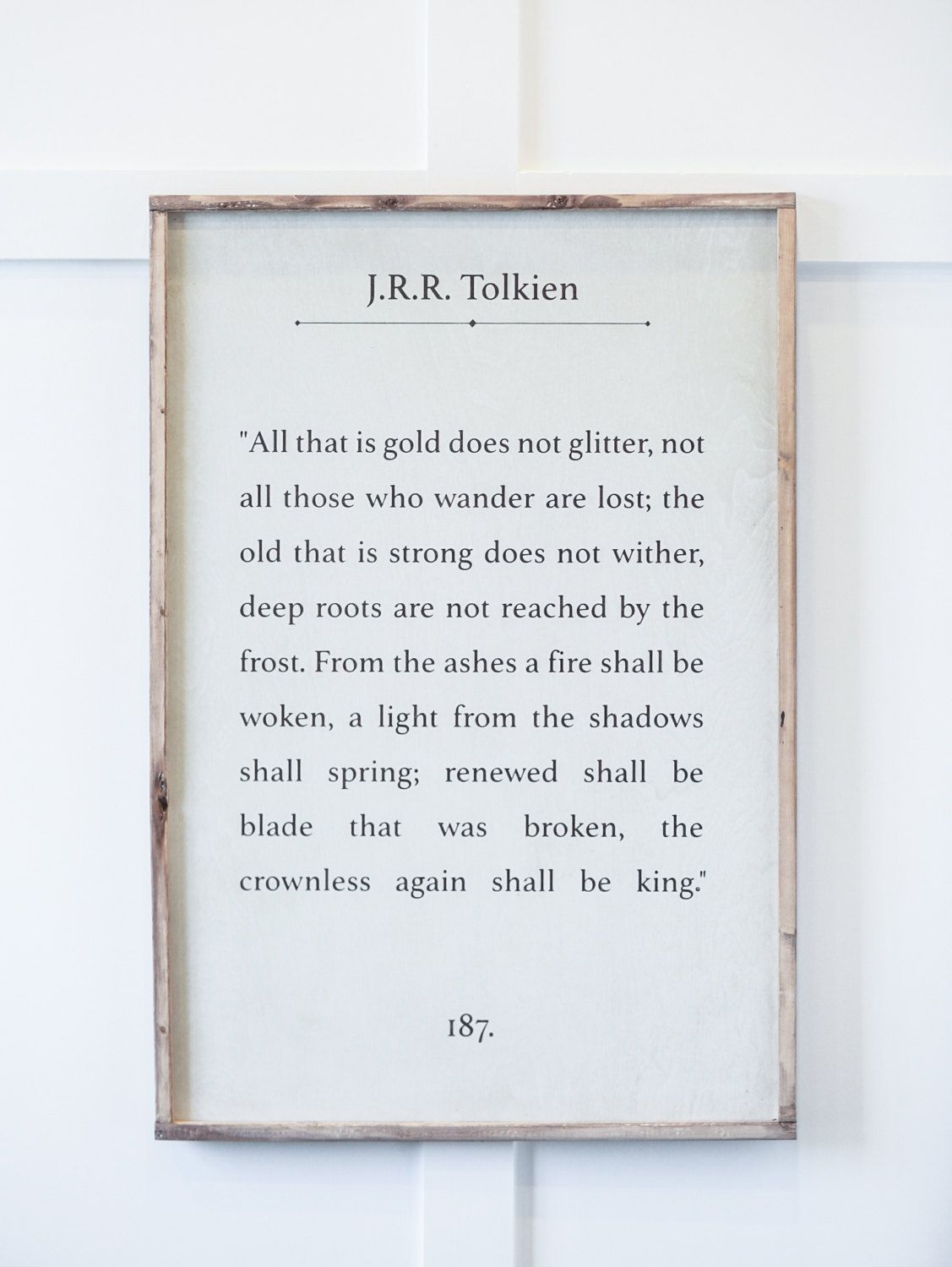 All That Is Gold Does Not Glitter Tolkien Wood Sign With