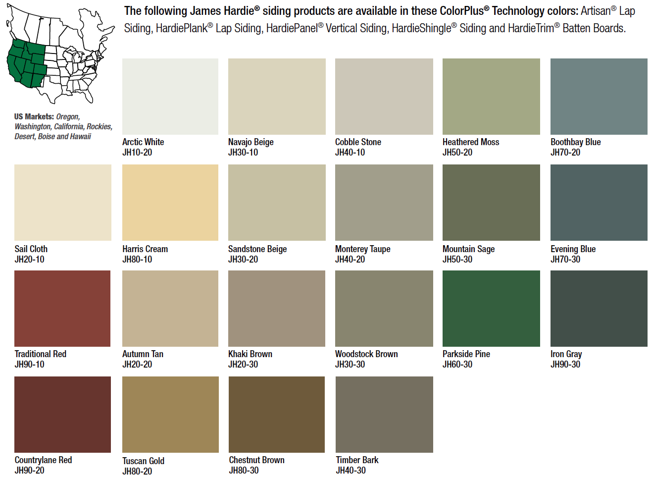 Cement Board Siding Colors : James hardie fiber cement siding western colors wall