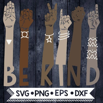 Be Kind Brown hands, Sign language svg, Be Kind Svg