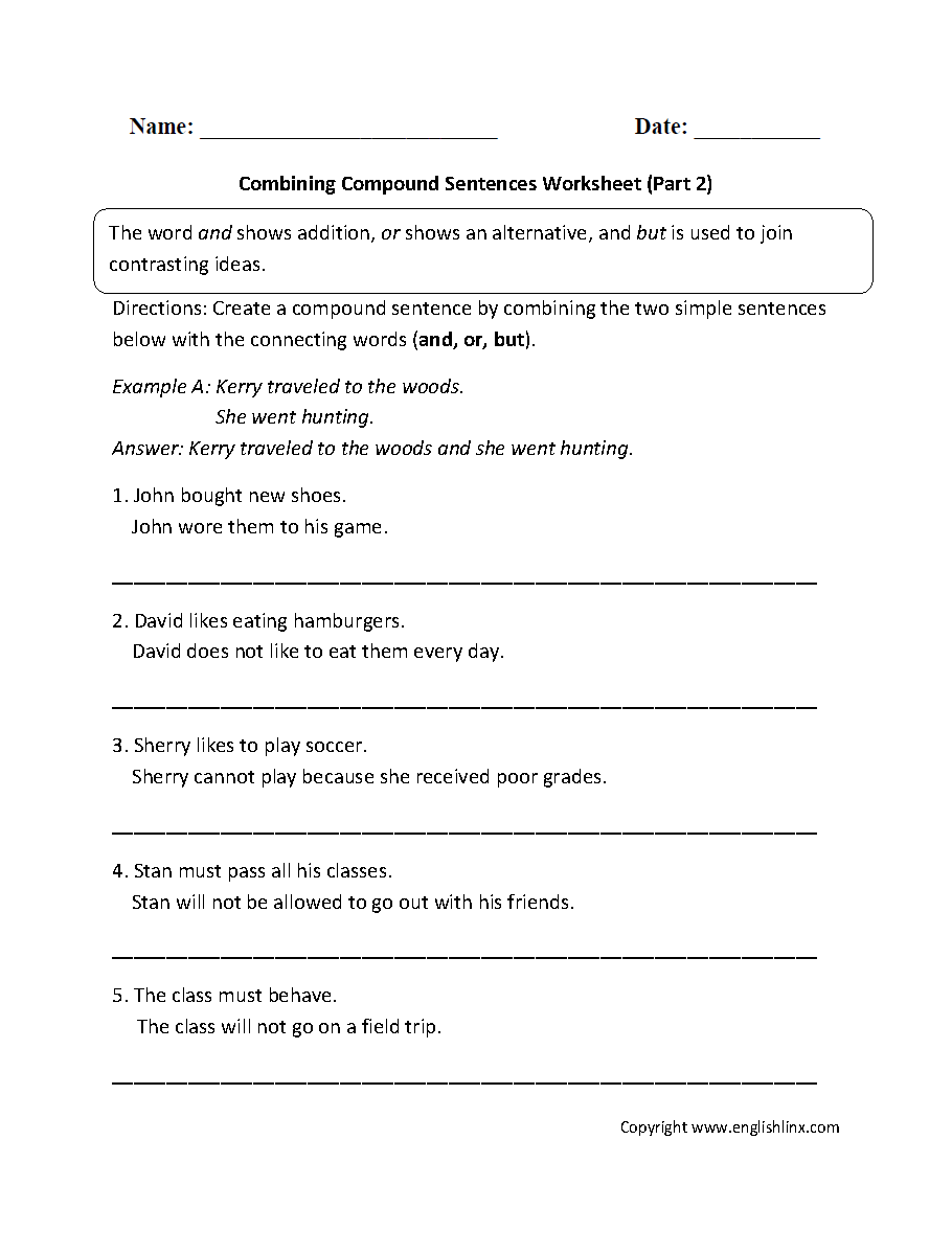Combining with Compound Sentences Worksheet Part 2 – Simple Sentences Worksheet