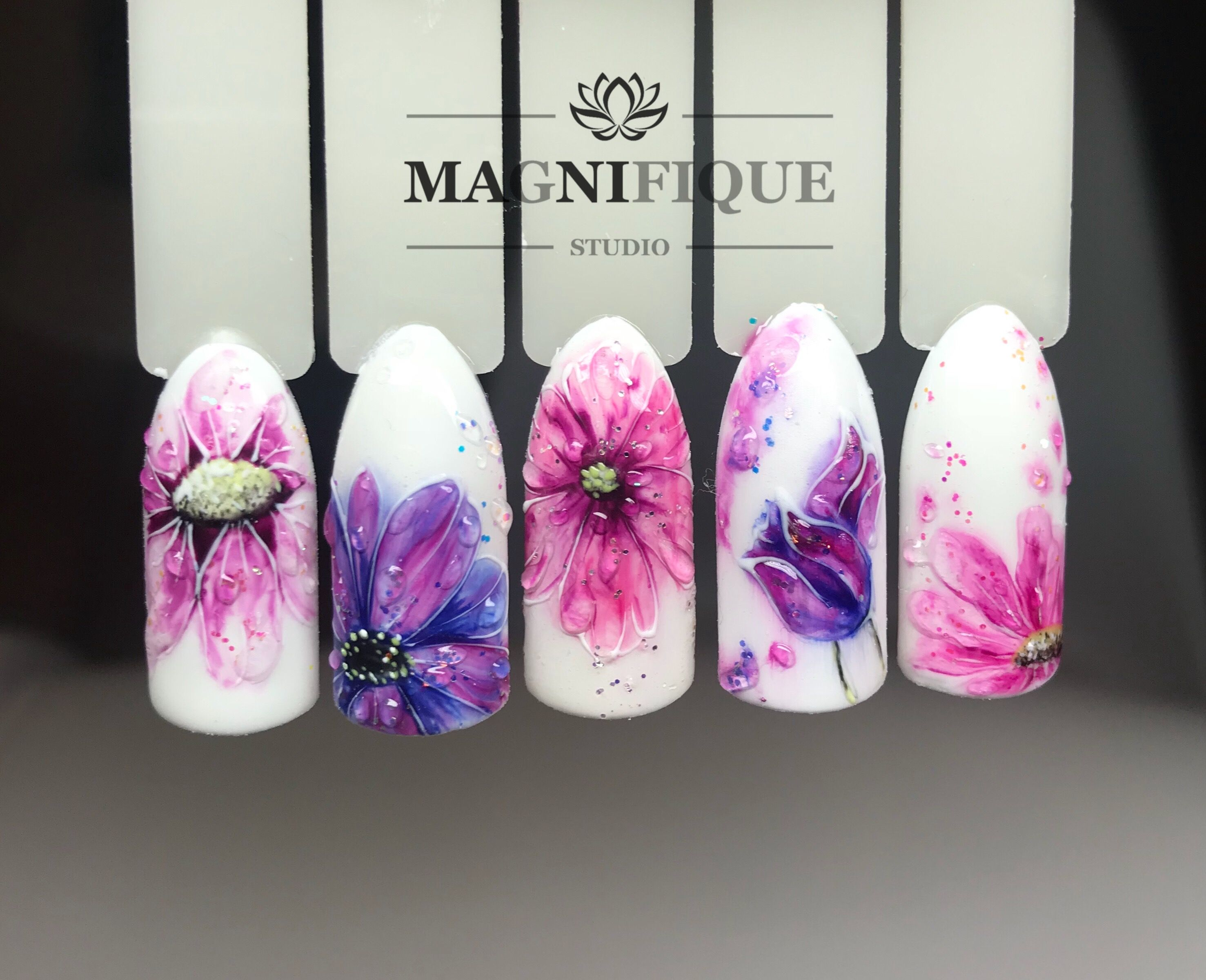 Watercolor Flowers Nail Design Flower Nails Art Hand Painted