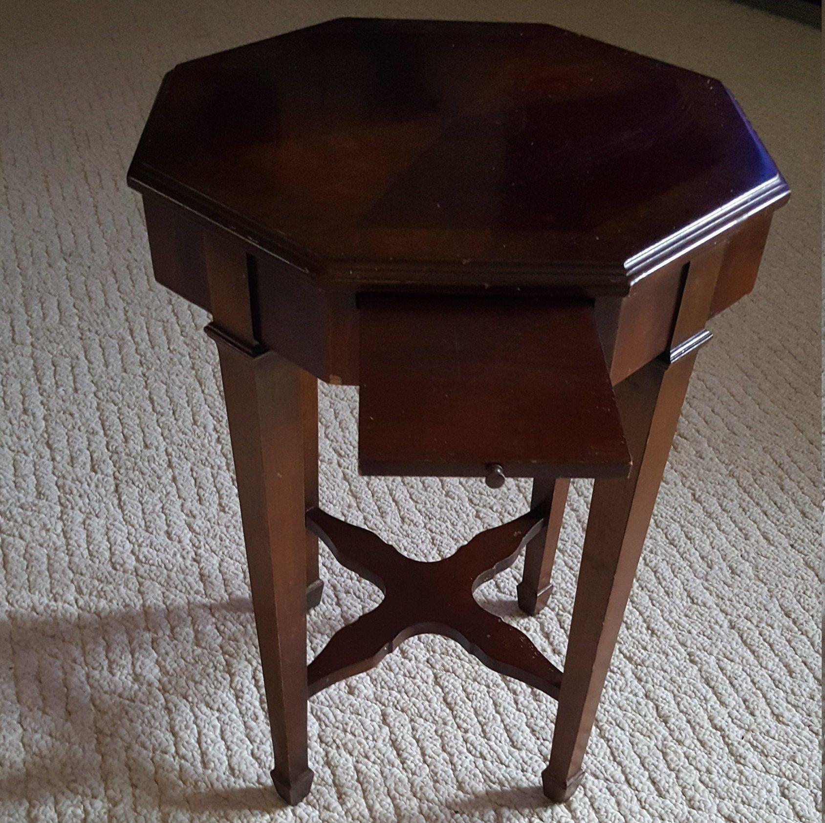 Vintage Lane Altavista Va End Side Table With Pull Out Tray Octagon By Brookesrepurpose On Etsy Vintage Furniture