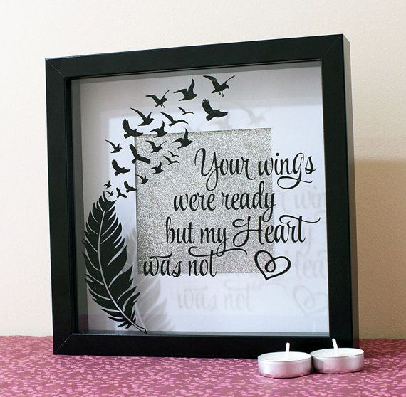Your Wings Memorial Shadow Box Frame Shadow Box Frame Personalised Frame Memorial Picture Frame Flower Shadow Box Shadow Box Frames Shadow Box Memory