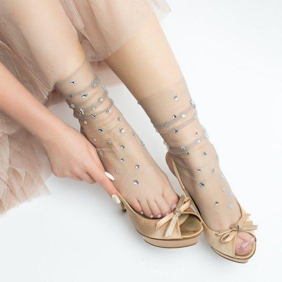 165bd7ae8 Silver Star Crystal Tulle Socks Glitter Sheer Stockings