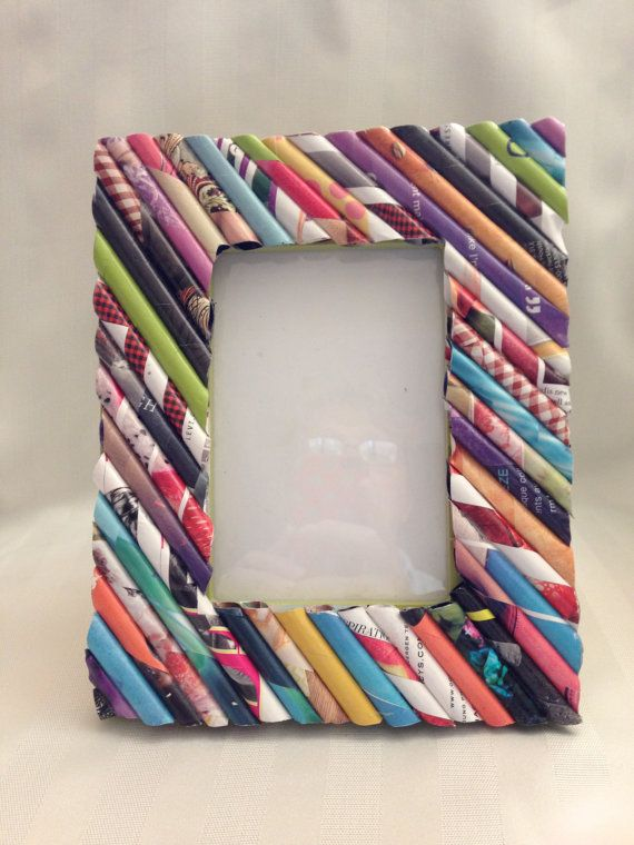 Picture Frame Colorful Rolled Magazine Paper By Orchidwaytreasures