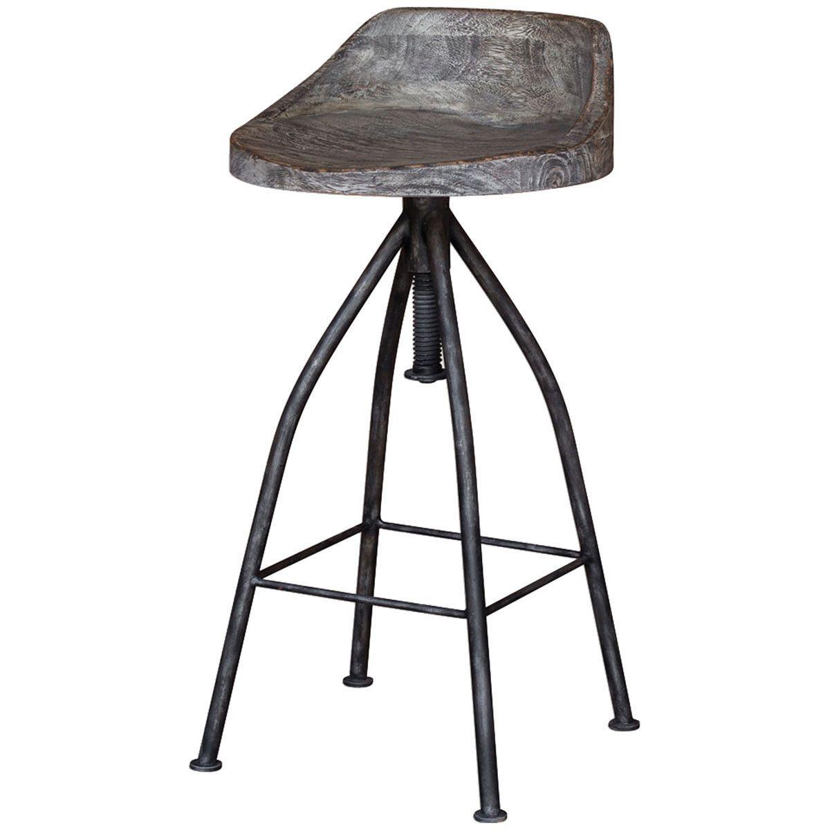 Uttermost Kairu Gray Glazed Driftwood Bar Stool | Bar stools | Pinterest