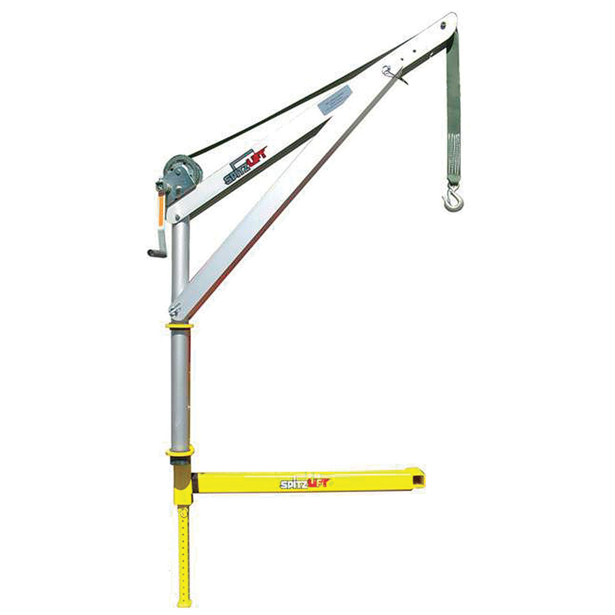 Product spitzlift anodized aluminum hitch mount truck crane with hand winch capacity model
