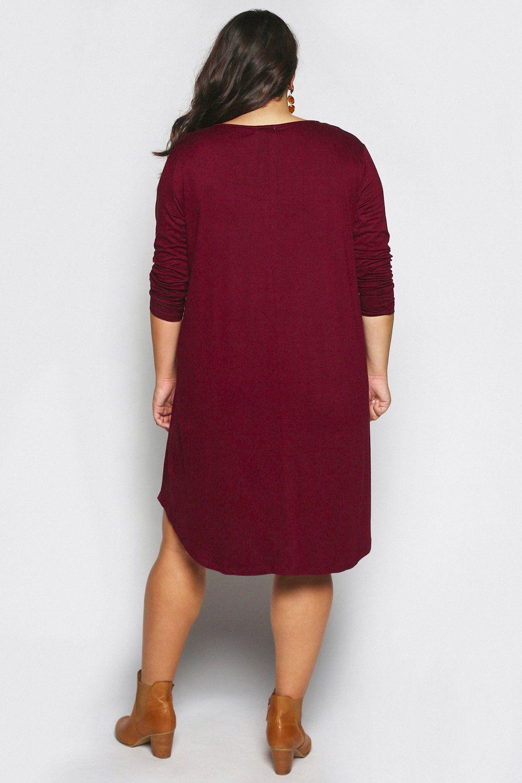 6b9a62237c55 Long Sleeve Swing Dress in Maroon (Plus Size) #AD , #Ad, #Swing, #Sleeve,  #Long, #Size, #Maroon