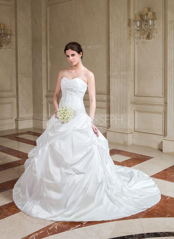 De baile Coração Comboios Catedral Tafetá Vestido de noiva com Pregueado Renda Bordado (002001158)
