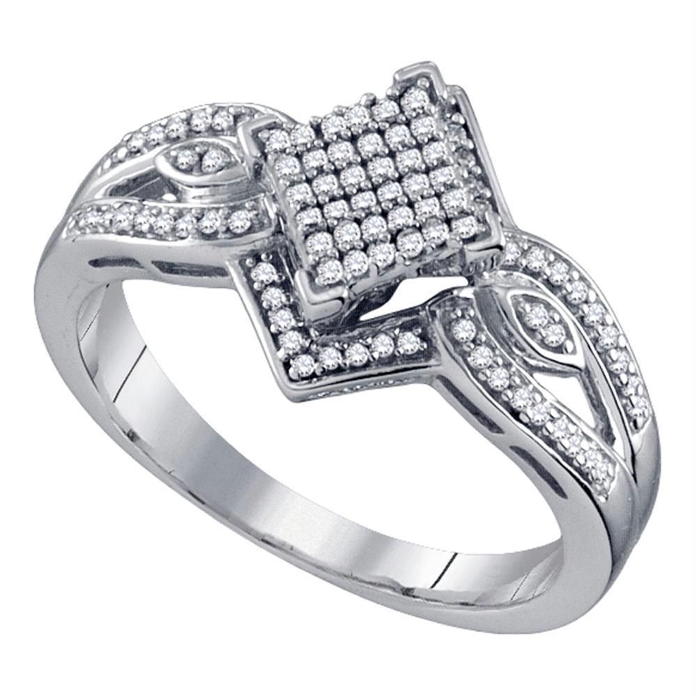 10kt White Gold Women S Round Diamond Elevated Diagonal Square Cluster Ring 1 4 Cttw Free Shipping Usa Can White Gold Cluster Ring Round Diamonds