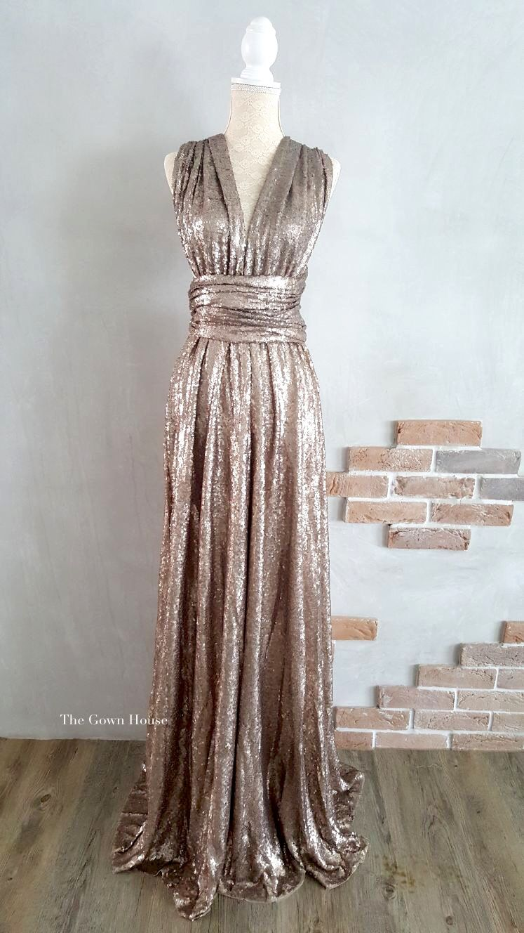 Champagne Sequin Infinity Gown The Gown House Australia