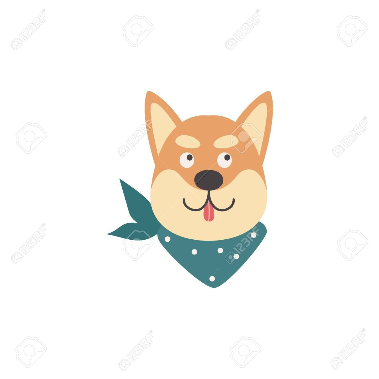 Cartoon Shiba Inu Head With Tongue Out Isolated On White Background Flat Isolated Dog Face Looking Up With Smile Ex Funny Dog Faces Japanese Animals Dog Face