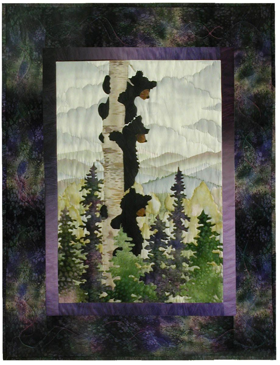 Bear Up There Applique Pattern | quilting ideas | Landscape art