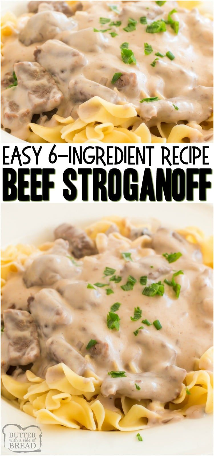 Easy Beef Stroganoff Recipe is a classic, creamy & delicious family dinner recipe.  With just a few simple ingredients, you too can make this mouth watering easy Beef Stroganoff dinner in no time at all. #dinner #easydinner #beef #stroganoff #pasta #recipe from BUTTER WITH A SIDE OF BREAD