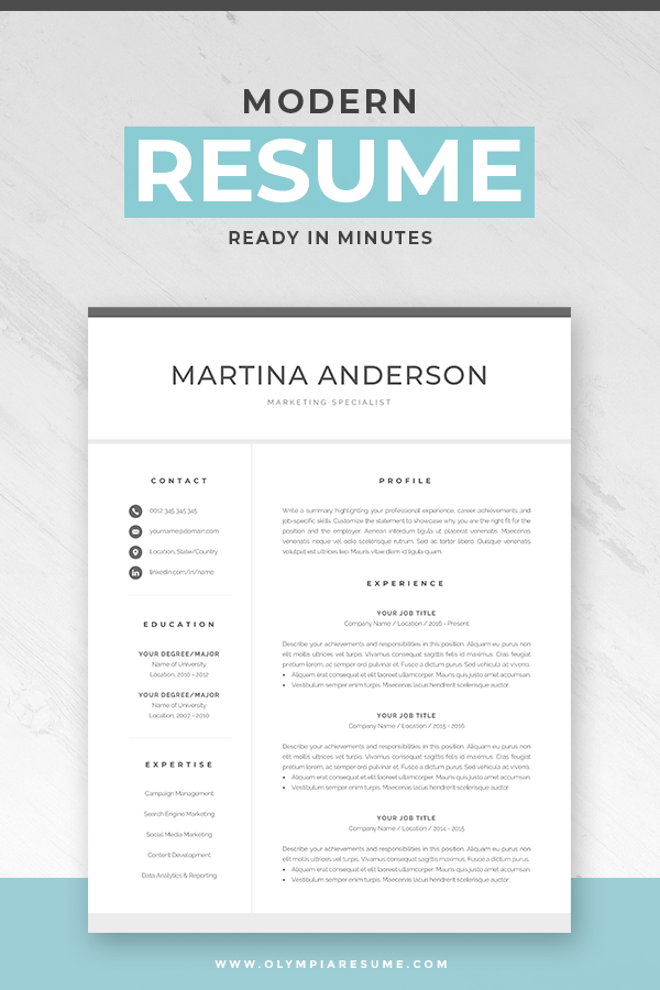 Resume References Page Modern Resume Template  Professional Cv Template For Word  Cover .