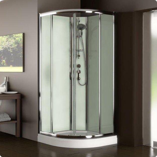 The Aqualux Slot And Lock Quadrant Shower Cabin Green Glass