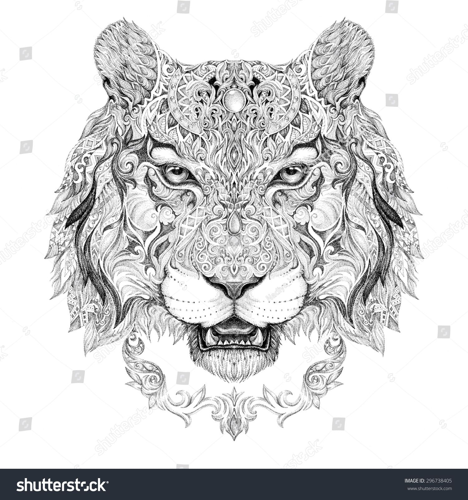 tattoo graphics head of a tiger of black and white