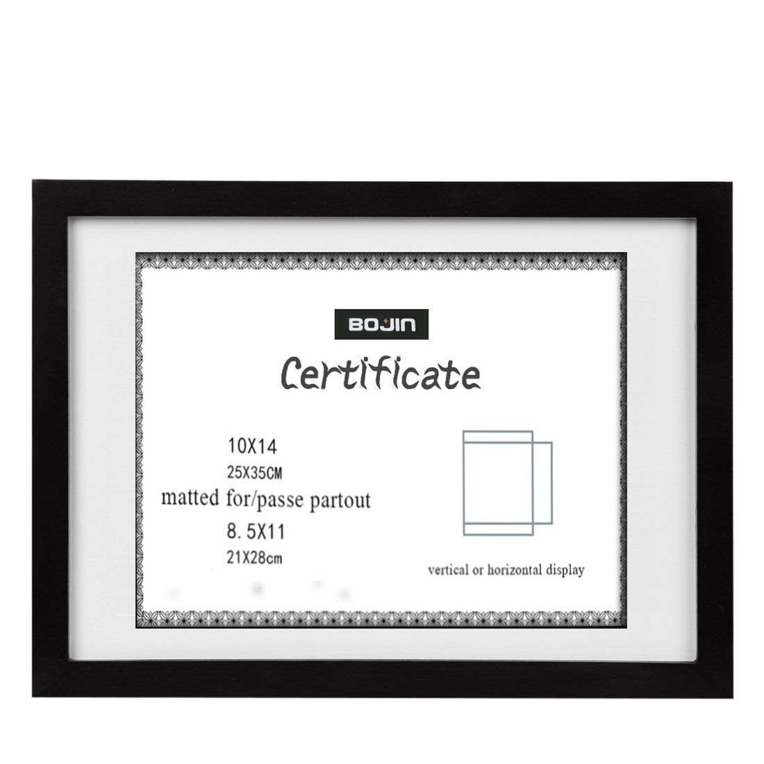 10x14 Wood Picture Frame Bojin Document Frame Made For Sized 8 5x11 Diploma With Mat 10x14 Picture Without Mat Black Ce Frame Wood Photo Frame Photo On Wood