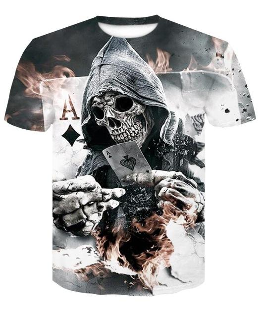 T Shirts Men Skull 3D Printing Casual Shirt Short Sleeve Breathable Round Neck Blouse Tops