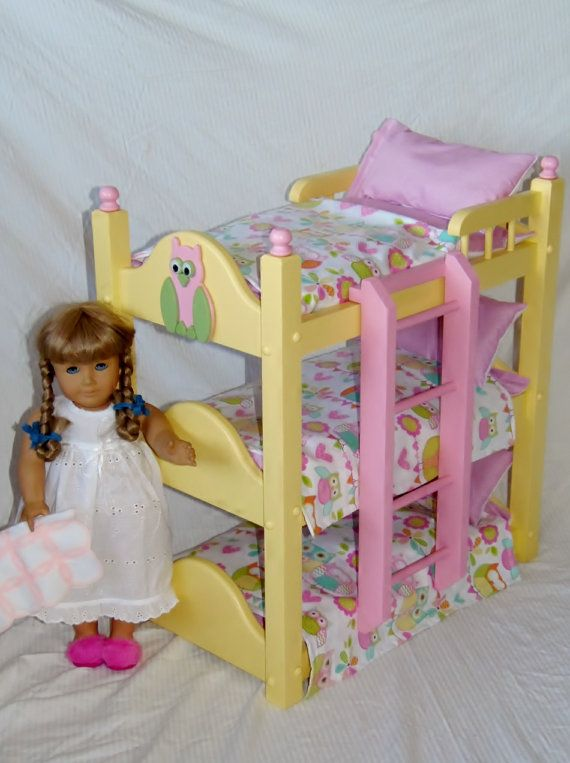 Triple Doll Bunk Bed With Six Piece Precious Owl Bedding Fits Etsy In 2021 Doll Bunk Beds Owl Bedding Doll Beds