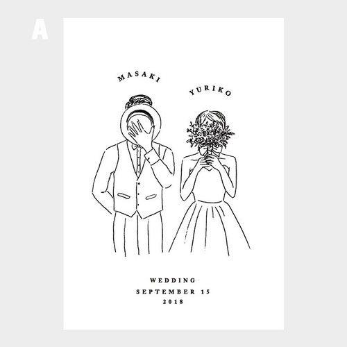 ウェルカムボード Shy イラスト A3 自立式額フレーム付 小西製作所 新郎新婦 イラスト ウェディングカードのデザイン 結婚 イラスト