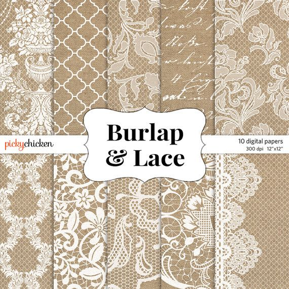 burlap lace wedding digital scrapbook paper for rustic wedding invitations and more from
