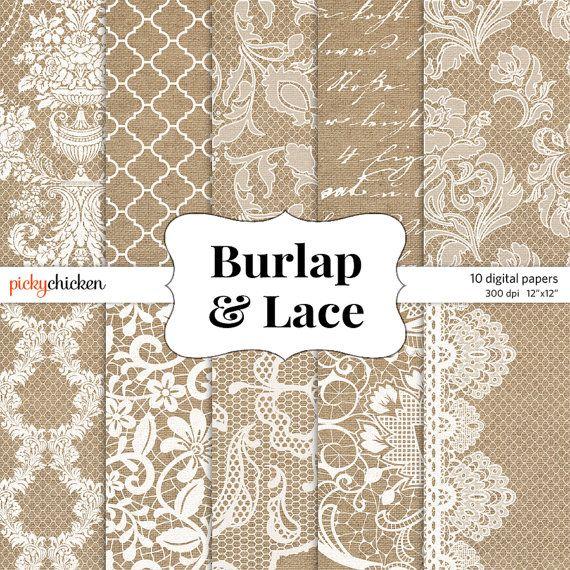 Burlap & Lace Wedding Digital Scrapbook Paper