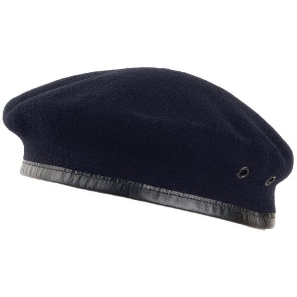 237fcaf0df83c Laulhère Hats Merino Wool French Military Beret Navy ( 29) ❤ liked on  Polyvore featuring accessories