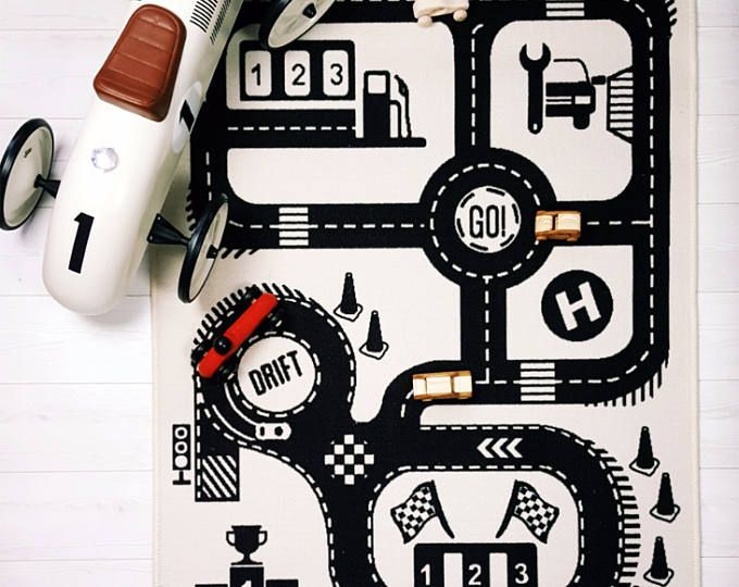 Car Play Mat Kids Bedroom Rug Road Map