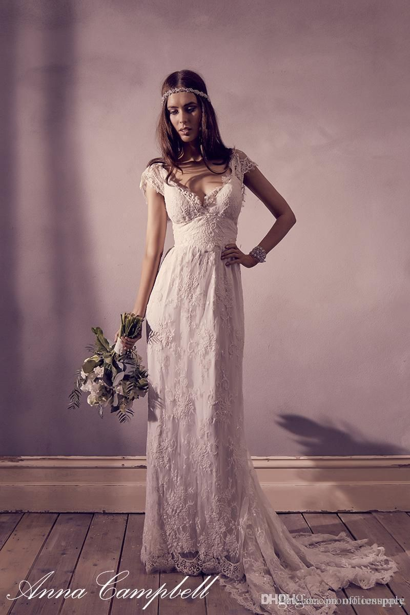 2016 Vintage Anna Campbell Lace Wedding Dresses with Capped Sleeves Long  Beach Bohemian Wedding Dress Plus Size Bridal Dress Pregnant 06a587f49e34