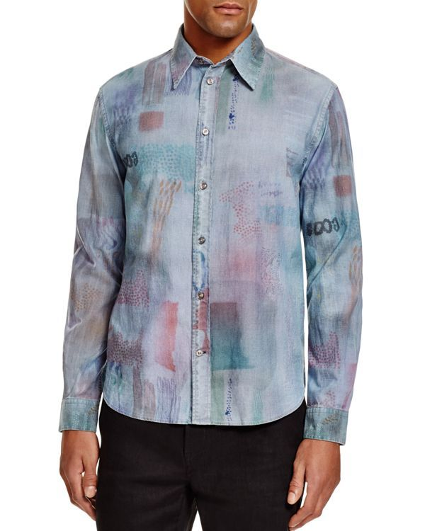Paul Smith Jeans Watercolor Print Slim Fit Button Down Shirt