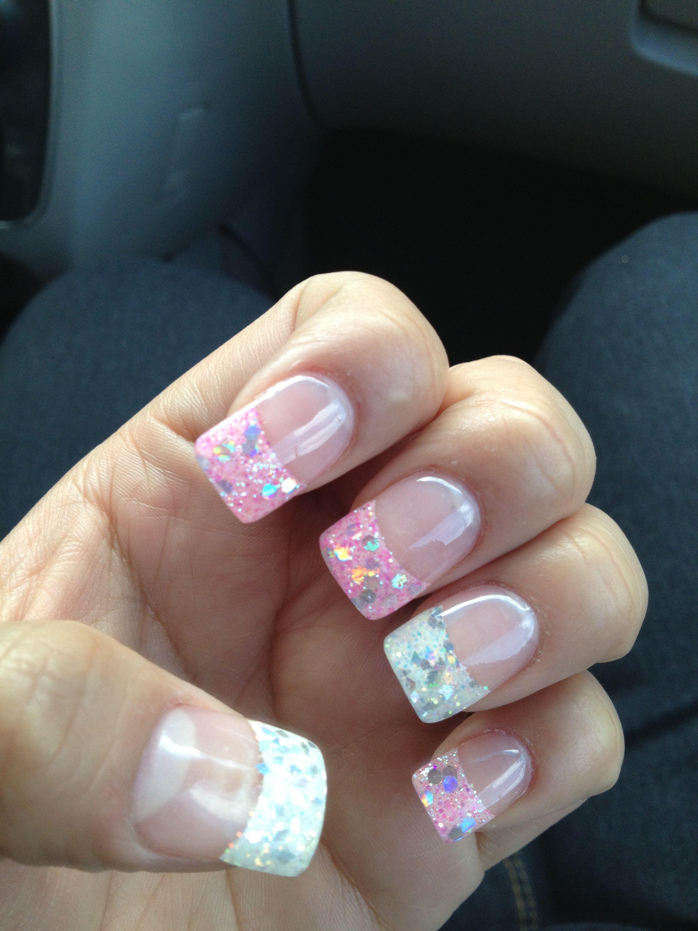 ♥Glitter nail tips Babypink and white♥ | nails | Pinterest