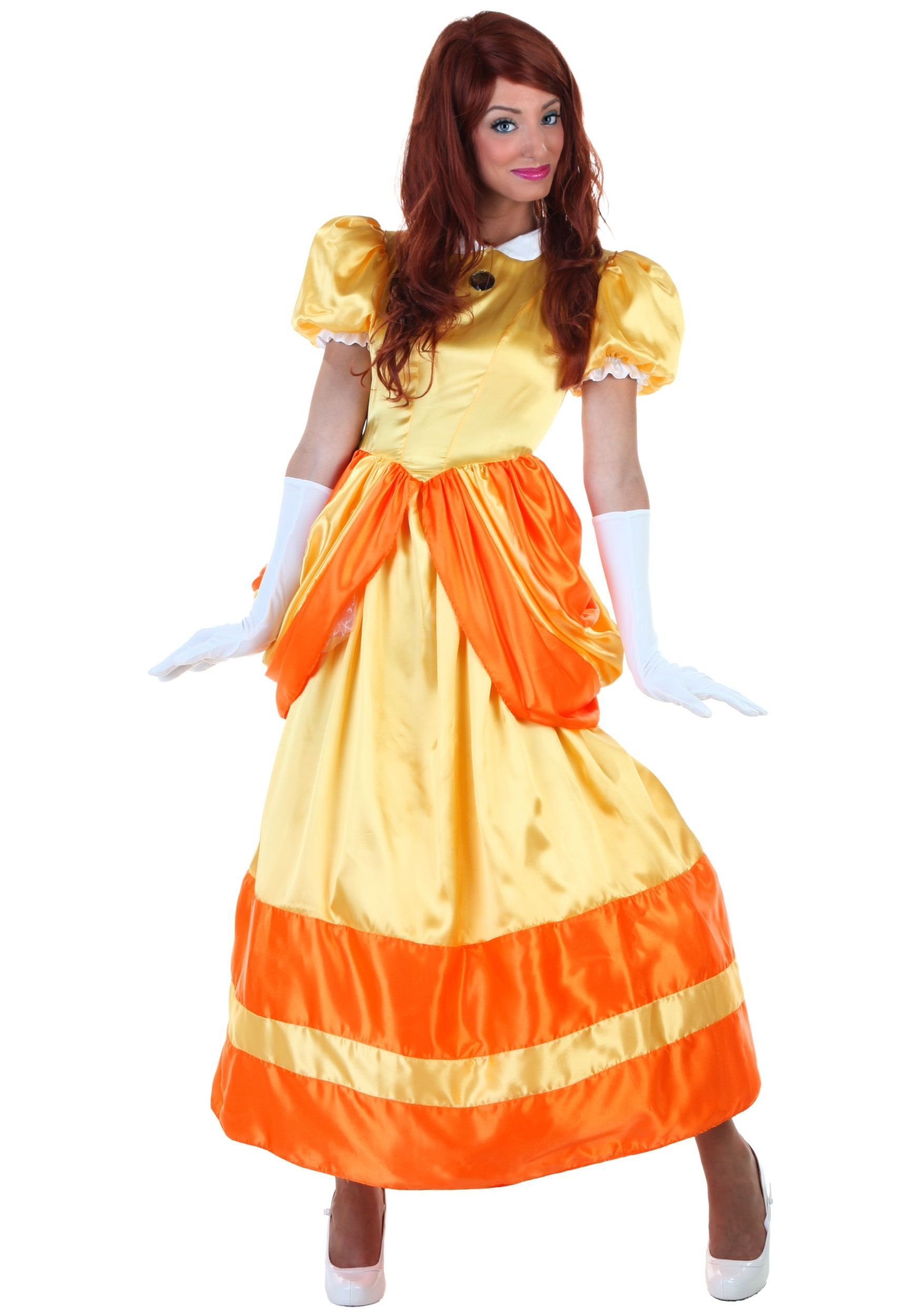 Plus Size Princess Daisy Cosplay Costume Woman Halloween Outfit Long Dress
