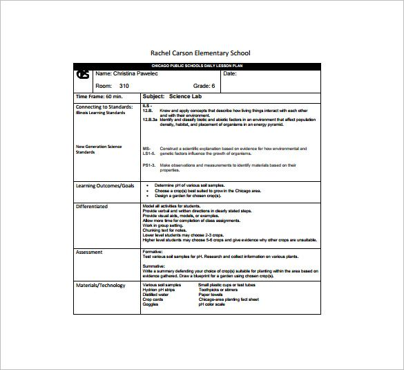 Daily Lesson Plan Template Free Sample Example Format - Lesson plan template example