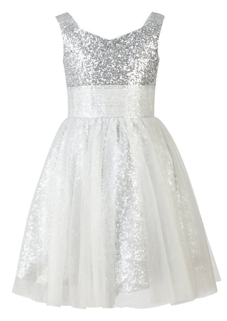 da92ef593f Amazon.com  Thstylee Silver Sequin Tulle Flower Girl Dress Junior  Bridesmaid Dress Kids Formal Dress US Size 2T Silver  Clothing