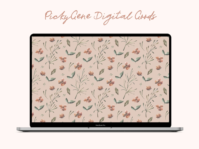 Floral Pattern Desktop   Laptop Background, Water Color, Digital Wallpaper, Digital Background