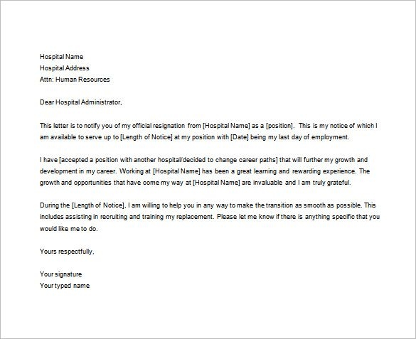 8+ Nursing Resignation Letter Templates   Free Sample, Example, Format  Download! |  Free Sample Resignation Letter Template