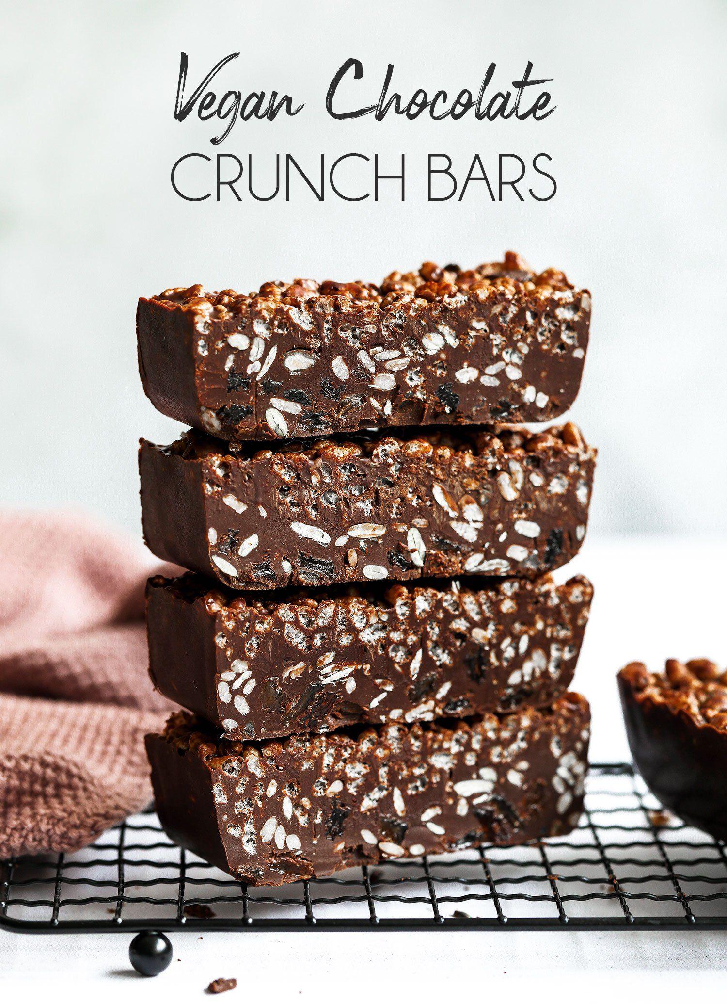 Vegan Chocolate Crunch Bars | Chocolate crunch, Vegan ...